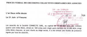 CONNECTIC, date de l'AGO 2011 : 21 juin 2012, PV enregistrée à la DGE